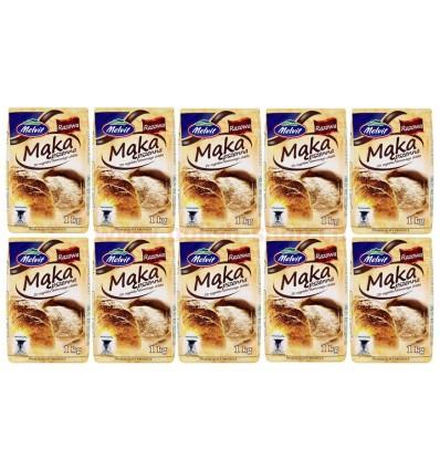10x Farine de blé entier Melvit 1kg