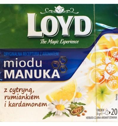 Herbata Miód Manuka z cytryną, rumiankiem i kardamonem Loyd 20 torebek