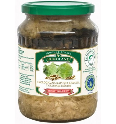 Organic pickled cabbage with forest mushrooms Runoland 680/410g