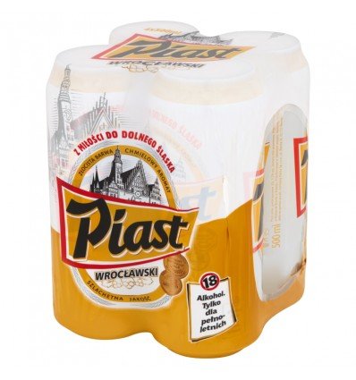 4x Piast Wroclawski beer can 500ml