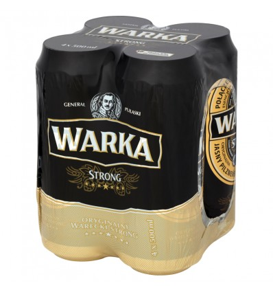 4x Warka Strong beer can 500ml