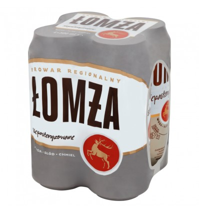 4x Lomza unpasteurised beer can 500ml