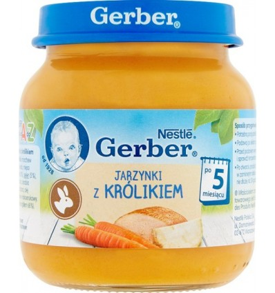 Légumes et viande de lapin Repas pour bébé de 5 mois Gerber 125g